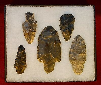 Collection of 5 Authentic Adena Native American Points; Ohio
