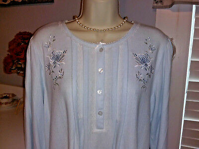 NWT 2X Miss Elaine Nightgown Gown NEW SOFT & WARM Blue CuddleKnit
