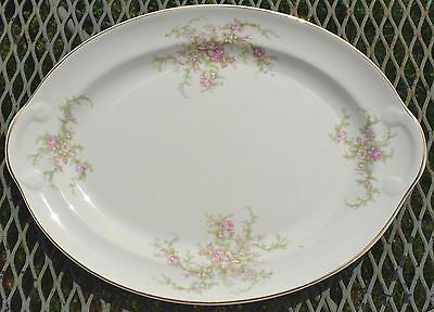 """Taylor Smith Taylor: Floral Bouquet, Gold Filigree: Oval Platter 13.25"""""""