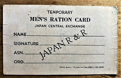 TEMPORARY MEN'S RATION (2 WEEKS at the PX) CARD JAPAN R & R DATED MAY 19, 1953