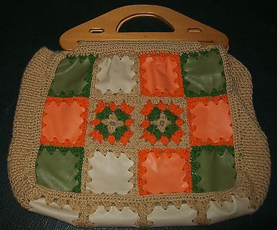 VINTAGE HAND CRAFTED CROCHETED PATCHWORK BAG - groovy !!
