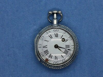 RARE Antique Silver French Enamel Portrait VERGE FUSEE Pocket Watch 1700s