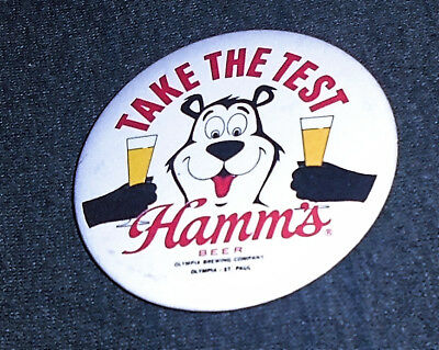 """Cool 1970's Hamm's Beer & Hamms Bear """"Take the Test"""" 3"""" Pinback Button"""