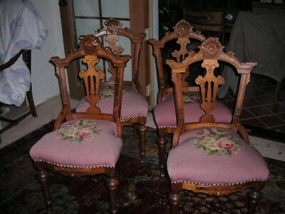 Lovely Set Of 4 Antique Victorian Eastlake Needlepoint Walnut Chairs