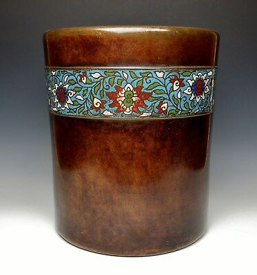 EXQUISITE ANTIQUE BRONZE CLOISONNE BRAZIER POT 1800s Lotus Japanese Planter Pot