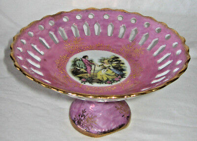 1950's Pink Lustre Ornate Comport or Footed Bowl Romantic Scene ~ Cut Out Work