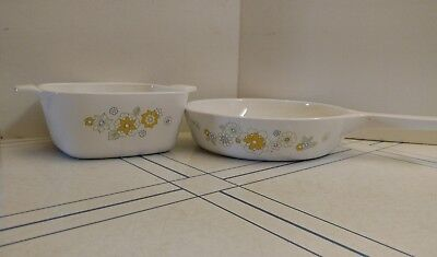 "Corning Ware FLORAL BOUQUET Petite Casserole And 6"" Menuette Pan, No Covers"