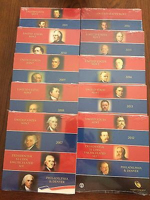2007-2016 10-Us Mint Presidential P & D Uncirculated 8-Coin Dollar Sets
