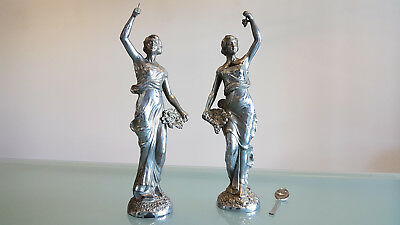 ANTIQUE PAIR PLATED FIGURES, (c1900) GREAT POSSIBILLITIES. DECORATE. 34cm HIGH.