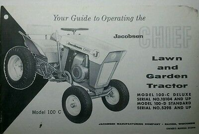 Jacobsen Chief Lawn & Garden Tractor & Mower Owners & Parts Manual (3 BOOKS) 54p