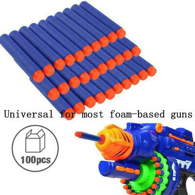 100PCS SOFT REFILL BULLETS DARTS ROUND HEAD BLASTERS FOR NERF N-STRIKE TOY Kj