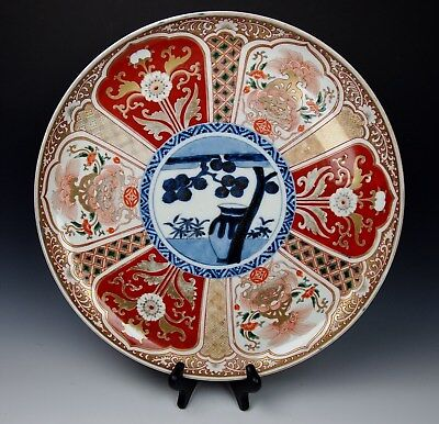 "SUPERB 16"" ANTIQUE JAPANESE IMARI CHARGER 150 Yr Old Porcelain 1800s Edo Meiji"