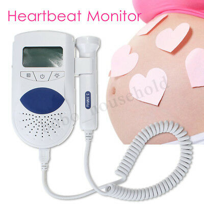 Pocket Fetal Doppler Baby Heart Beat Rate Monitor FHR LCD Probe Pregnancy Fetus