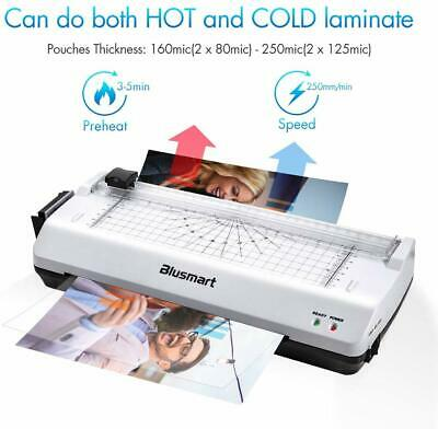 3 in 1 Thermal Laminator Machine Set A4 Photo Card Home Office 10 Pouches Fast