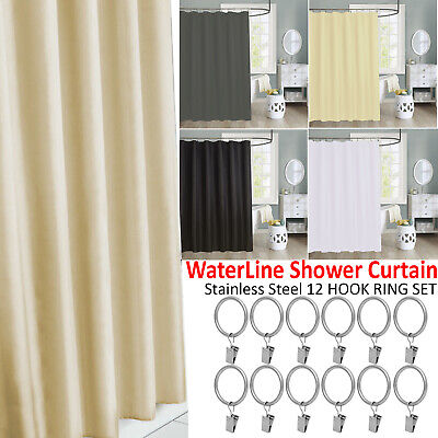100% Polyester Fabric Bathroom Waterline Shower Curtain Waterproof 12 Hooks Set