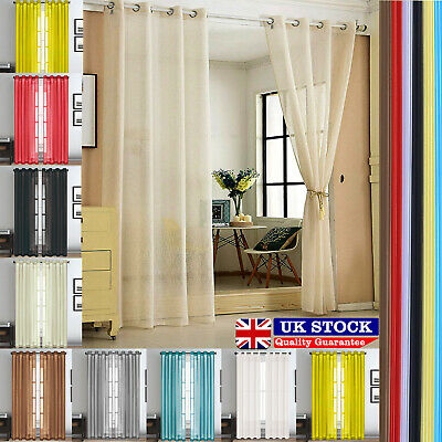100% Polyester Plain Voile Lucy Eyelet Curtain Panel Rod Net Slot Top All Colors