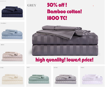 1000TC Cotton Blended Queen or King Size Bed Sheet Set (Stripe) 3/4Pieces - New