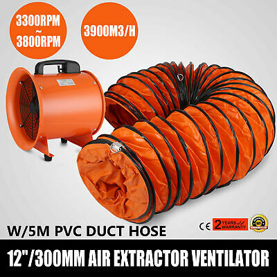 "12"" Extractor Fan Blower portable 5m Duct Hose Ventilator Industrial Air Mover"