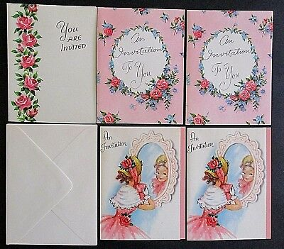 Vintage 1950/60's Party Invitations - x5 Unused With Envelopes