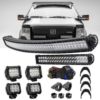 """52Inch Curved LED Light Bar + 22in + 4"""" CREE Pods Offroad SUV ATV Ford Jeep 54"""""""