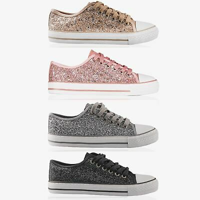 Women Ladies Glitter Low Top Trainers Lace Up Sneakers Flat Pumps Shoes Size