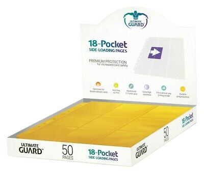 Ultimate Guard 18-Pocket Pages Side-Loading Yellow (50) Ultimate Guard NUOVO
