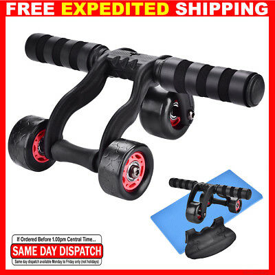 Ab Exercise 3 Wheel - Abdominal Core Strength Gym Fitness Training Roller