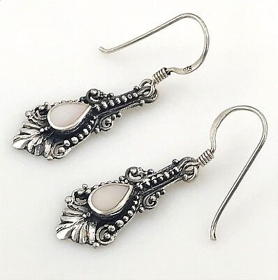 Vintage .925 Sterling Silver, Mother of Pearl Petite Ornate French Wire Earrings