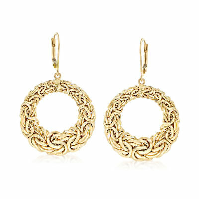 Byzantine Open Circle Drop Earrings with Lever-back Real Solid 14K Yellow Gold