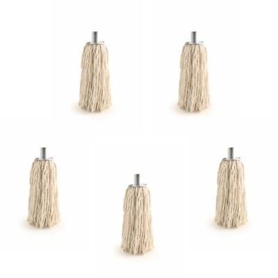 Pure Yarn Cotton Mop Head with Galvanised Metal Socket Fitting 14 PY PACK OF 5