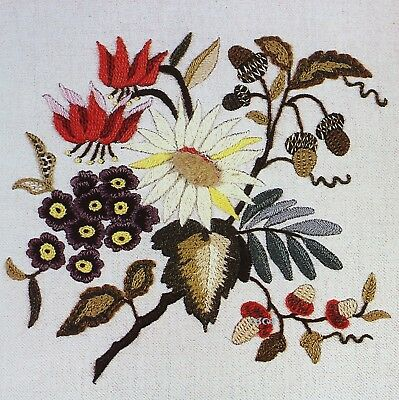 18TH CENTURY FLOWERS Vintage Crewel Embroidery Kit Erica Wilson Old English