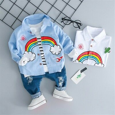 Infant Kids Baby Boys Girls Character T-shirt Tops Ripped Jeans Pant Outfit Set