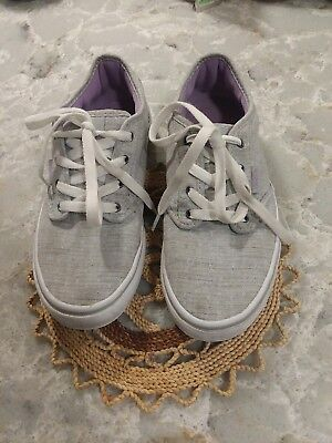 2d19f132fb Girls Youth 4 Kids Juniors VANS Atwood Textile Grey Purple Sneakers Shoes 4