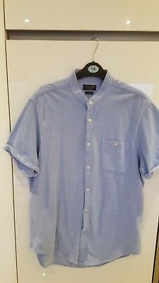 258b7eab BRAND NEW MENS Zara slim fit shirt large light blue grandad shirt ...