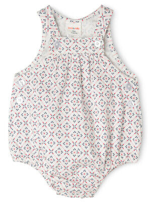 NEW Jack & Milly Pearl Woven Overall Red, Pink Navy Geo Print Ivory