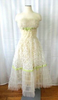Vintage 1950s Ball Gown Strapless Tulle Lace Party Dress Evening Formal XS S 31