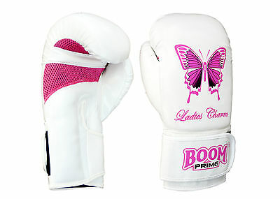 BOOM Prime Ladies Pink Boxing Gloves MMA Kick Gym Pads Punch Bag Mitts Muay Thai