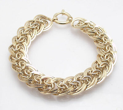 "8"" Byzantine Double Curb Bracelet with Spring Ring Lock Real 14K Yellow Gold"