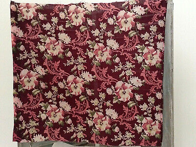 Lovely Antique Vintage  French floral fabric printed cotton  shabby chic