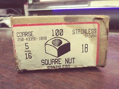 """Stainless Steel Square Nuts 5/16""""-18 250-43396-1098 Coarse 100 Count New In Box"""