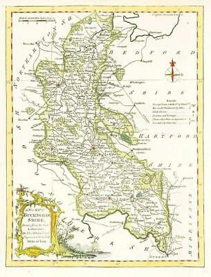 1764 Original Antique Map - BUCKINGHAMSHIRE by Thomas KITCHIN Hand coloured (03)