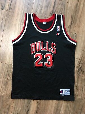 huge discount 50c6f bd369 VINTAGE CHAMPION NBA #23 MICHAEL JORDAN JERSEY Boys XL 18-20 Black Chicago  Bulls