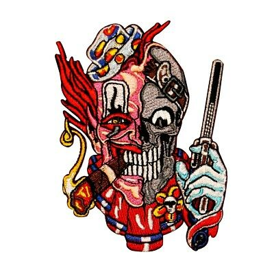 Scary Biker Skull 041-N Creepy Clown Embroidered Iron On Patch