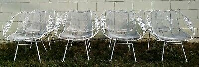 Set of 4 Russell Woodard Rare Chantilly Rose Sculptura Patio Chairs Mid Century