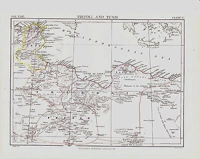 Ninth Edition Encylopedia Britannica (1875-1889) Tripoli and Tunis Map