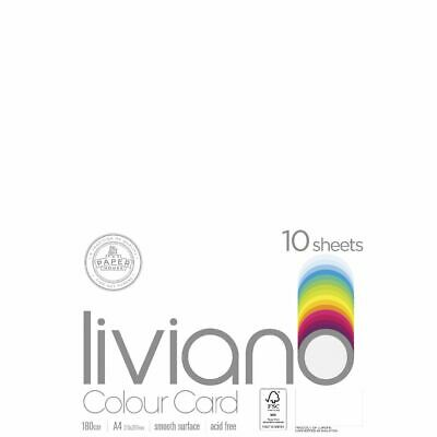 Liviano A4 Colour Card 180gsm White 10 Pack