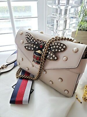AUTHENTIC GUCCI BROADWAY Leather Clutch mini bag Embellished Bee ... 50a40bd803002