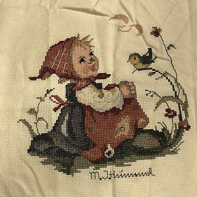 M J Hummel Needlework Crossstich Finished Panel Girl 15x17 Embroidery Sew Pillow