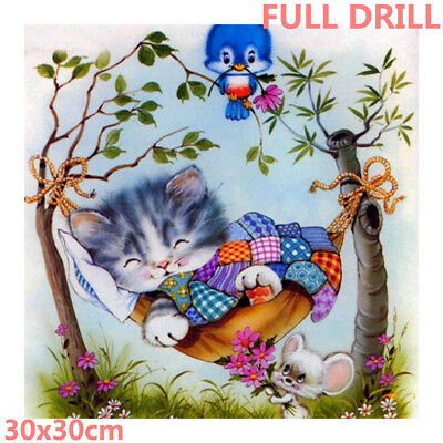 Full Drill Asleep Cat 5D Diamond Painting Animals Embroidery Cross Stitch Kit