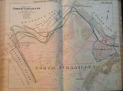 1895 Pittsburgh Pa. North Versailles Pleasant School Wilmerding Atlas Map